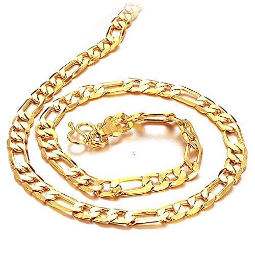 Fate Love Schmuck 18K vergoldet Herren Figaro Kette Halskette 6mm Breite, 50,8cm Länge Western Freundschaft Armbänder