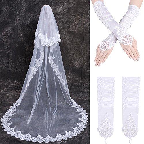 Hochzeit Braut Schleier Lang mit Kamm + Handschuhe Spitze 2 Schichten lange Kathedrale Pailletten Haarnadel Gorgeous Elegant weiß - Kamm Kopf Braut
