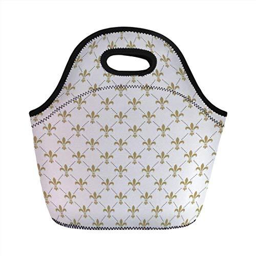 Portable Bento Lunch Bag,Fleur De Lis Decor,Fleur De Lis Pattern Vintage Stylized Lily Flower Royal Symbol Artistic Design,White Gold,for Kids Adult Thermal Insulated Tote Bags Fleur Thermal