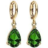 MYA art Premium Damen Goldene Creolen Ohrringe Hängend Ohrhänger mit Zirkonia Stein Tropfen-Anhänger Gold Vergoldet Gelbgold Grün MYAGOOHR-34