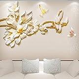 LONGYUCHEN Benutzerdefinierte 3D Seide Wandbild Tapete Geprägte Pflanze Muster Magnolie Blume Geeignet Für Schlafzimmer Wohnzimmer Tv Hintergrund Wand Dekoration Wandbild,250Cm(H)×360Cm(W)