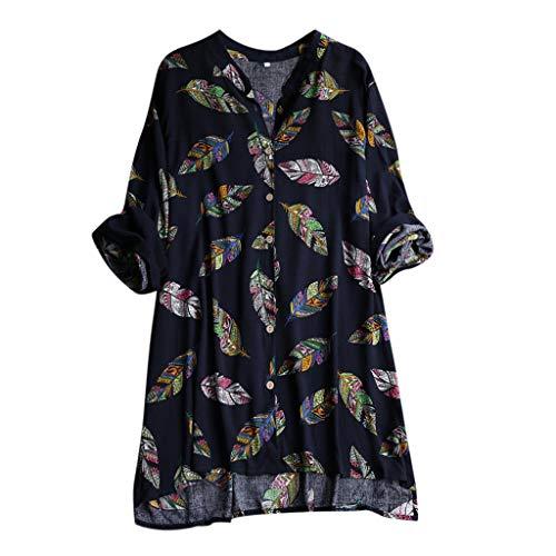 Empire Taille Seide Bluse (Bibao Damen Boho Feder Print Langarm Seide Satin Casual T-Shirt Lose Tank Top Strand Kleid Sommer Kurz Kleid)