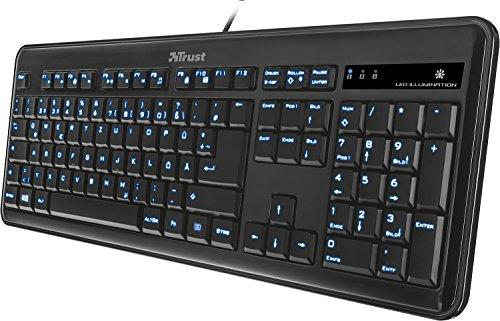 Trust eLight LED Illuminated Tastatur schnurgebunden schwarz (deutsches Tastaturlayout, QWERTZ)
