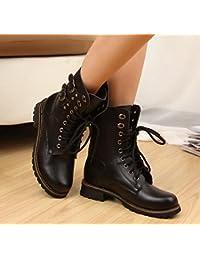 &ZHOU Botas otoño y del invierno botas cortas mujeres adultas 'Martin botas botas Knight A6-8 , black , 35