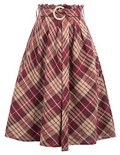 GRACE KARIN Falda Mujer Media Longitud Silueta A-Line Falda a Cuadros XL CL11052-2