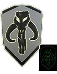 ACU Gray 3D Star Wars Glow Dark Boba Fett Mandalorian Bounty Hunter GITD PVC Touch Fastener Patch