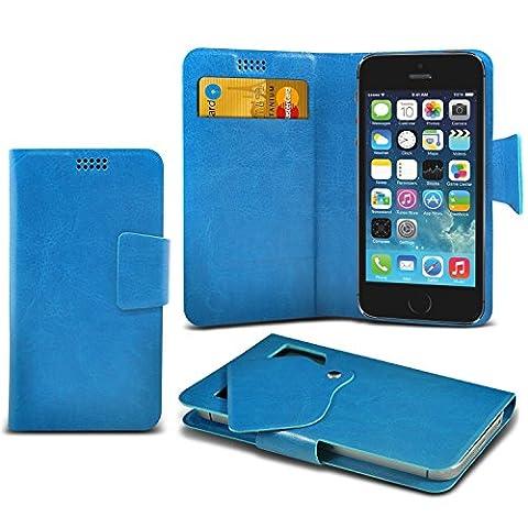 (Baby Blue) Yezz Andy 5EI3 Etui Housse Coque Portefeuille ( Dimensions 145.5 x 75.3 x 9 mm) sacoche de haute qualité Thin Faux cas d'aspiration en cuir Wallet Pad Cover peau avec Carte de Crédit / Slots par i-Tronixs