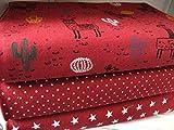Qjutie Lottashaus No22 Jersey Baumwolljersey Stoffpaket 3 Stück 50x70cm Bordeaux Rot Lama Tupfen Sterne Jersey Kinder Kleidung Stoffe