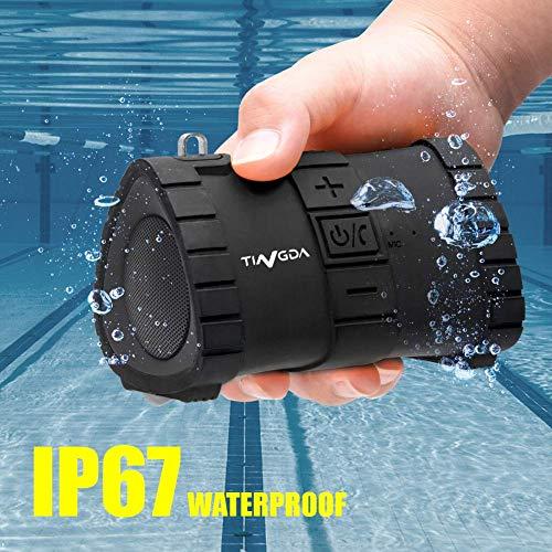 Tingda Portable Bluetooth Lautsprecher Wasserdicht, Tragbarer Outdoor Mini Box V4.1 IP67 Wasserfest Stoßfest mit Mikrofon, Stereo Sound, AUX, 15-Stunden Spielzeit, für Dusche, Strand, Reisen - Schwarz