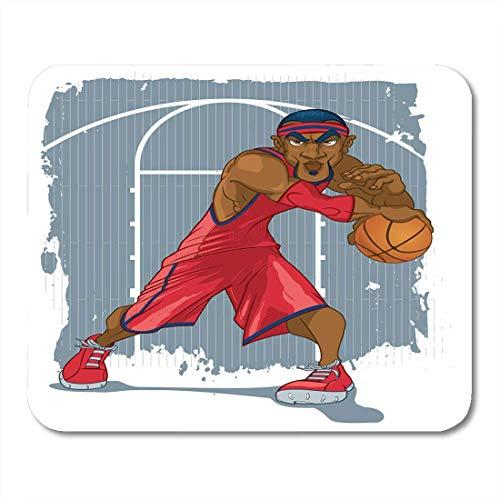 Mauspads Athlet Black African Basketball-Spieler im roten Trikot, das Ball gegen Schmutz-Gerichts-amerikanische Mausunterlage für Notizbücher, Tischrechner-Mausunterlagen, Bürozubehöre spielt Amerikanischen Gericht