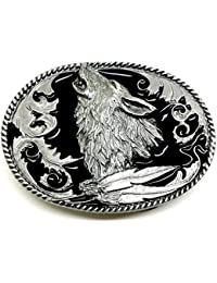 Howling Wolf Belt Buckle in Black American Western Themed Authentic Siskiyou Branded Product