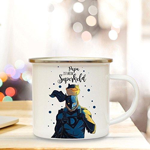 ilka parey wandtattoo-welt Emaille Becher Camping Tasse mit Superheld Papa & Spruch Kaffeetasse Geschenk Kaffeebecher eb78