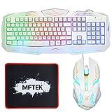 Gaming Tastatur und Maus Set - MFTEK USB verdrahtete LED Regenbogen Backlit Gaming Tastaturen und Maus Combo mit Maus Pad