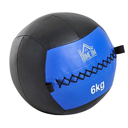 HOMCOM Balón Medicinal de Crossfit 6Kg con Asas tipo Pelota de Ejerci