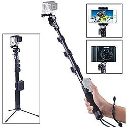 Smatree Y2 Bastone Selfie Monopiede Telescopico Allungabile con Treppiede per GoPro Hero 2018, Hero 6/5/4/3+/3/2/1/ Fusion/ Session/ Ricoh Theta S/V, M15 Fotocamere Compatte e Smartphone