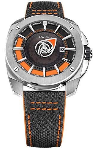 DWISS Automatikuhr RS1-SO orange Edelstahl Stoff & Lederband