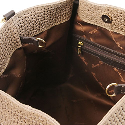 Tuscany Leather TL KeyLuck - Borsa shopping TL SMART in pelle stampa intrecciata - Misura Grande Blu scuro Borse donna a tracolla Talpa scuro