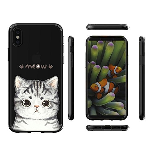 Coque pour Apple iPhone X (5,8 pouces) ,ZXLZKQ Art Fleur Blanc Transparent Premium Housse Souple TPU Case Etui Silicone Back Bumper Cover pour Apple iPhone X (5,8 pouces) WM99