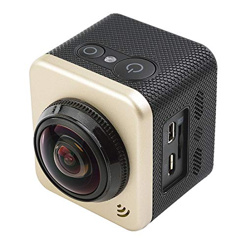 AKTIONSKAMERA CJZC CUBE360S 1,5-Zoll-HD-Bildschirm 180 Grad & 360 Grad Panorama ARM M926EJ Super Weitwinkelobjektiv, 64 GB TF-Karte, 3 Telefone synchron, HDMI-Ausgang, Hot Plug - Wide-hot-plug