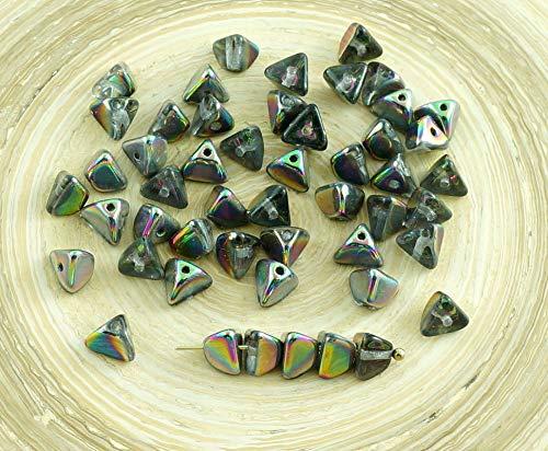 50X Crystal Green Rainbow Hälfte der Tschechischen Glas-Große Halbe St Patrick Tag Pinch-Triangel Spacer Perlen 4mm x ()
