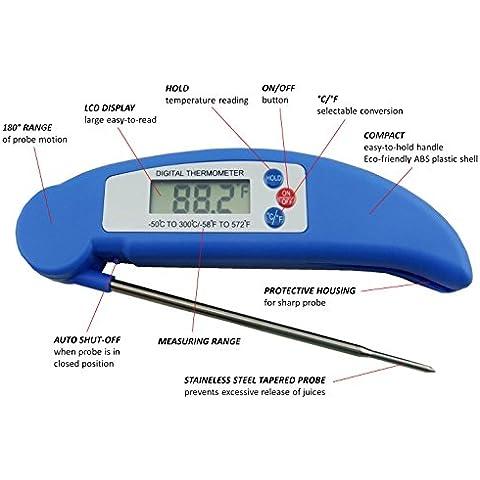AVAX DT-X - Termómetro plegable de cocina con pantalla LCD, para vino, comida, carne, pavo, barbacoa, mate, leche, azúcar, etc. Rango de temperatura: -50 ºC a +300 ºC, color