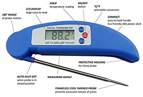 AVAX DT-X - Folding Digital LCD Food Thermometer Kitchen Cooking Probe for Wine, Food, Meat, Steak, Turkey, BBQ, Yerba Mate, Milk, Sugar, etc. - Temperature range: -50C to 300C / -58F to 572F -