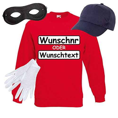 Sweatshirt PANZERKNACKER Set Kostüm mit WUNSCHNUMMER-STANDARDNUMMER Herren und Kinder Verkleidung SET15 Sweater/WN/Cap/Maske/Handschuhe L (Pullover Selbst Cap)