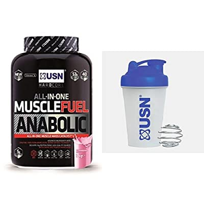 USN Muscle Fuel Anabolic Lean Muscle Gain Shake Powder - Strawberry, 2 kg with USN Metal Ball Mixer Shaker, 400 ml