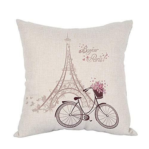 ssen Home Decor Throw Kissenbezug Bonjour Paris Text mit Turm Eiffel und Fahrrad Polyester Kissen 45,7 x 45,7 cm Kissenbezug ()