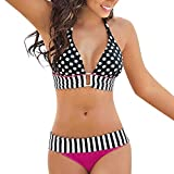 QUINTRA Bademode Bikini Damen Dot Stripe Bikini Set Verband Push-Up Badeanzug Zweiteiliger Badeanzug