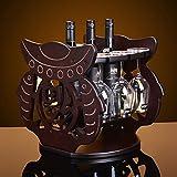 Ccsyso Massivholz Weinregal Bar Hängende Doppelreihe Kabinett Fischglas Glas Kopf Rot Flasche Getränkehalter Bracket Display Stand Set Home Küche Aufbewahrungsbox Desktop Independent Cabinet