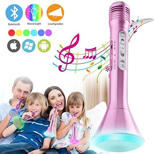 Micrófono Inalámbrico Bluetooth Karaoke con Altavoz, Máquina Portátil de Reproductor de Microfono para Karaoke Niños Home Canta Partido, Soporte Echo iPhone iPad Android Smartphones PC Laptop (Rosa)