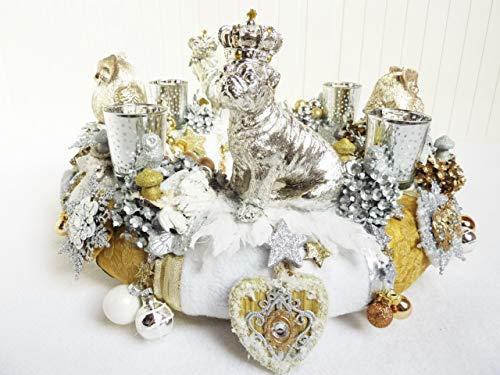 Adventskranz MOPS ADEL Eule Shabby Vintage Weiß Gold Silber Verspielt Luxus Kronen Weihnachtsdeko -