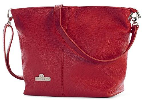 LiaTalia Damen Italienische mittelgroße Hobo Schultertasche aus echtem Leder mit einer Staubschutztasche - Adal Rot