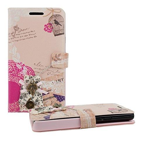 kwmobile Custodia Flip Cover per Samsung Galaxy S2 / S2 Plus con Design Pizzo Romantico - Custodia Ecopelle Borsa Smartphone in Fucsia/Bianco/Rosa Antico