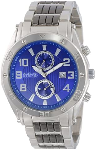 August Steiner Men's Bold Multifunction Watch with Blue Dial and Silver-Tone and Black Bracelet AS8070BU