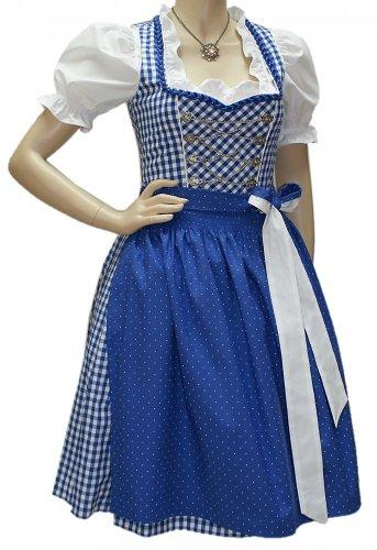 Balkonett-Dirndlkleid Kleid Trachtenkleid Wiesn-Dirndl blau/weiß Karo Baumwolle, (Gothic Brautkleid Red)