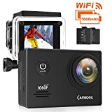 CAMKONG WiFi Action Cam Sport con Custodia Impermeabile Full HD 1080P 14MP 170° Grandangolare 2.0 Pollici 2x1050mAh Batterie e Kit Accessori