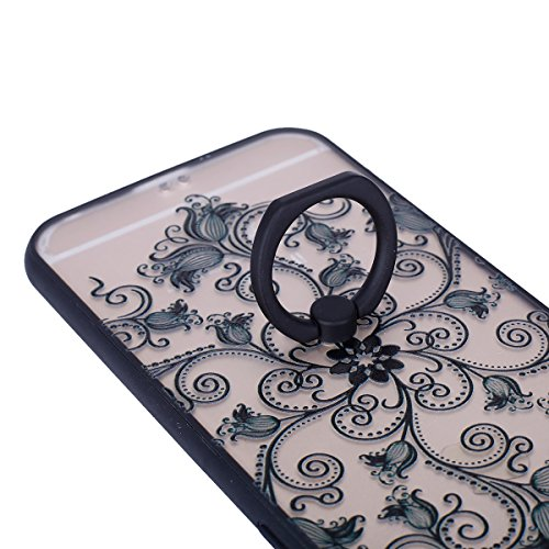 Cover iPhone 6/6S 4.7 Custodia,Ukayfe Elegante Sollievo Modello Design Particolari Gradiente Colore con 360 Degree Rotating Metallo Anello Ring Stand Holder Supporto Custodia in Gel TPU Silicone, Ultr Fiore Lanterna(nero)