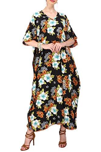 Miss Lavish London Frauen Kaftan Tunika Kimono Stil Plus Größe Maxi für Loungewear Ferien Nachtwäsche & Jeden Tag Kleider [124 Schwarz]