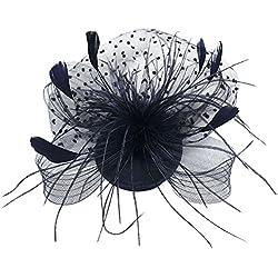 EXCHIC Mujeres Pluma Net Velo Boda Fascinator Sombrero Clip Accesorios para el cabello (Negro)