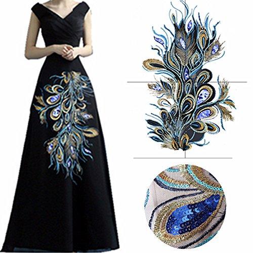 Sequin Applique Amazon Uk King Diy Ethnic Blue Sequins Peacock