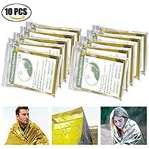Migimi Manta de Emergencia (Paquete de 10), Manta de Supervivencia, Impermeable y