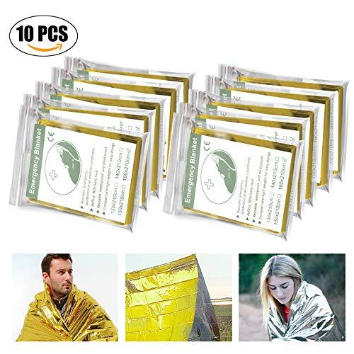 Rettungsdecken, Migimi 10 Stück Rettungsfolie für Erste Hilfe Auto Rettungsdecke Wandern Folie, Gold / Silber Folie Camping, Erste Hilfe Decke 210 x160cm