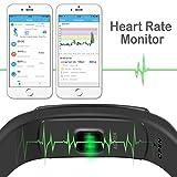 Herzfrequenz Fitnessarmband, Fitness Tracker mit Pulsmesser Bluetooth 4.0 Smart-Herzfrequenz Monitor Armband Schrittzähler Schlafanalyse Aktivitätstracker Kalorienzähler Schlaftracker, IP67 Wasserdichte Aktivität Tracker für Android 4.4, iOS 8.0 oder höher Smartphones, von AGPTEK, Schwarz - 4