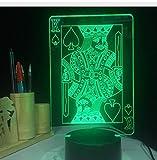 Spade K King Poker Karten Casino Würfel 3D Lampe 5 V Usb Led Nachtlampe Acryl Lava Lampe 3D