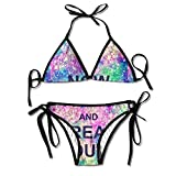 MOMOAN Sexy Push up Unpadded Bikini Set Women Now Panic and Freak Out Adjustable Swimsuit Beach Suit Bathing Suits