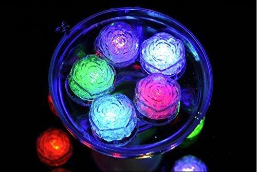 -Sensor-multi Farben, die blinkende blinkende Rosen-Blumen-Form geführte Eis-Würfel-Ereignis-Partei LED leuchtende für Hochzeits-Verein-Stab-Getränk KTV-Dekoration ()