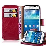 Cadorabo Hülle für Samsung Galaxy S4 Mini - Hülle in Wein ROT – Handyhülle im Luxury Design mit Kartenfach und Standfunktion - Case Cover Schutzhülle Etui Tasche Book