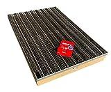Bodenwanne mit Stahlzarge 100 x 50 mit Schuhabstreifer Rips anthrazit mit Bürstenstreifen und Schnurwasserwaage